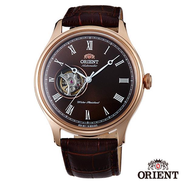 ORIENT東方錶  精實商務半鏤空自動上鍊機械腕錶-咖啡面x43mm  FAG00001T0