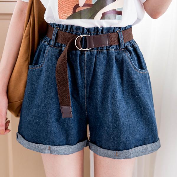 MIUSTAR 附金屬雙環腰帶鬆緊反褶牛仔短褲(共2色)【NH1523GW】預購