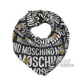 茱麗葉精品【全新現貨】 MOSCHINO 50140 M5384 滿版小熊莫代爾質感薄圍巾.黑/小