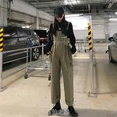 新款秋季韓版寬鬆個性軍綠色工裝背帶褲女高腰褲子直筒休閒褲 快速出貨