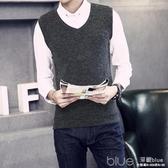 男士冬季套頭V領針織毛衣馬甲男韓版修身無袖背心外套男裝打底衫 深藏blue