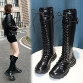 長靴長筒靴女西部騎士靴不過膝長靴秋季新款黑色英倫復古瘦腿靴子