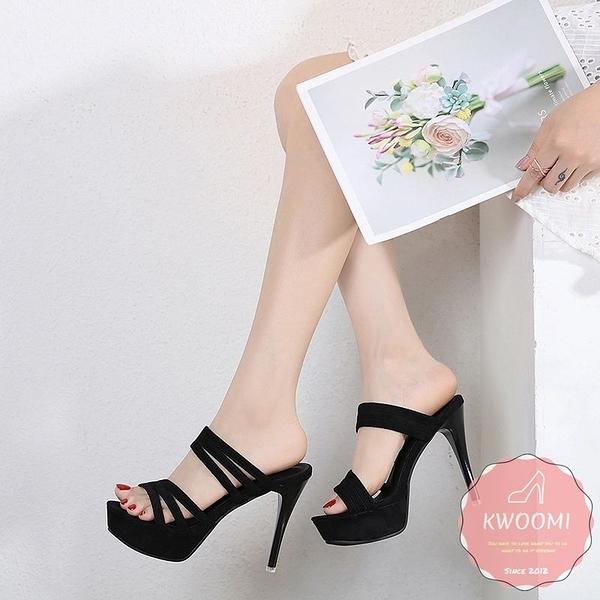 高跟涼鞋 多層一字性感線條細跟 高跟拖鞋 晚宴鞋 新娘鞋 高跟鞋*KWOOMI-A32