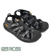 T33-12287 男款溯溪涼鞋   混色迷彩織帶調整型扣環平底溯溪涼鞋【GREEN PHOENIX】