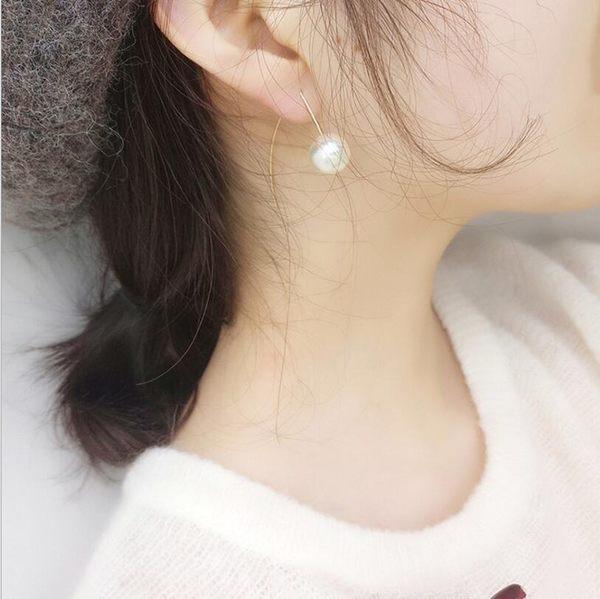 韓國 氣質 極簡風 質感 珍珠 細長款 耳環 簡約 耳釘 女 歐美 氣質 耳環 耳墜