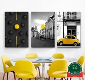 【單幅】簡約汽車建筑裝飾畫背景墻畫餐廳床頭畫【福喜行】