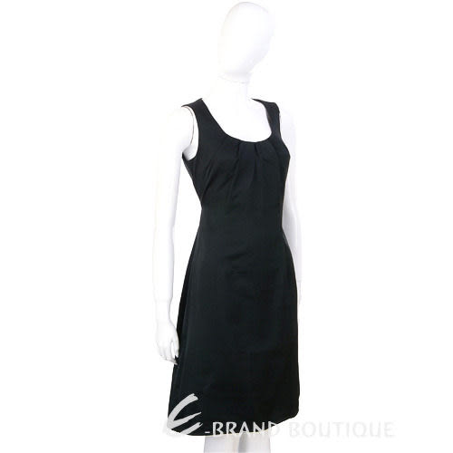 PIEIES UNIQUES 黑色抓褶綁帶無袖洋裝 0840286-01