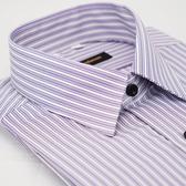 【金‧安德森】紫色白條紋黑扣吸排窄版長袖襯衫