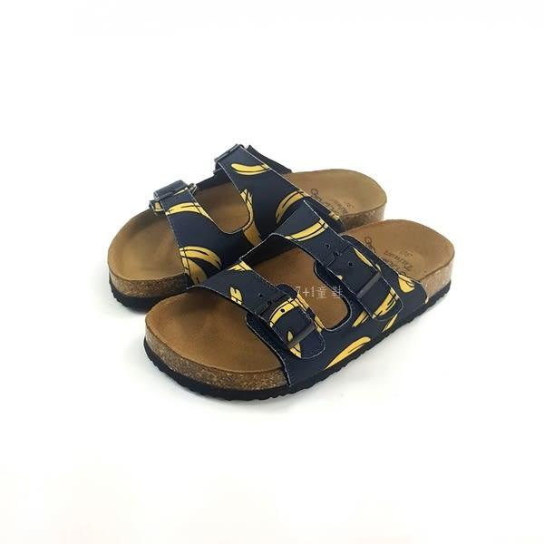 台灣WONDER GO 香蕉圖騰 扣環拖鞋《7+1童鞋》D051 黑色