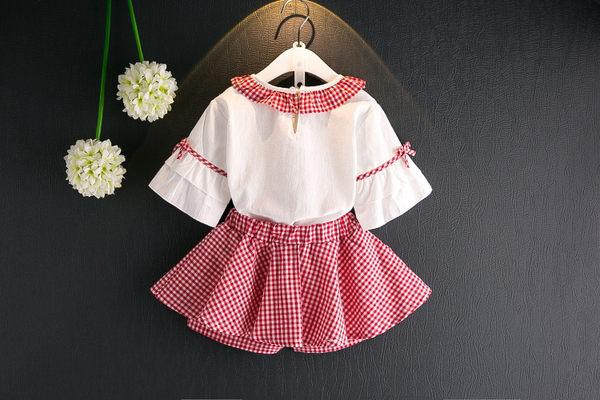 衣童趣♥夏季韓版女童 新款荷葉邊喇叭袖造型上衣+格紋褲裙 活潑可愛款 兩件式套裝