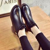 短靴女春秋2018新款百搭粗跟中跟馬丁靴裸靴圓頭百搭短靴女靴子