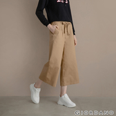 【GIORDANO】女裝經典卡其蝴蝶結綁腰九分寬褲-90 卡其