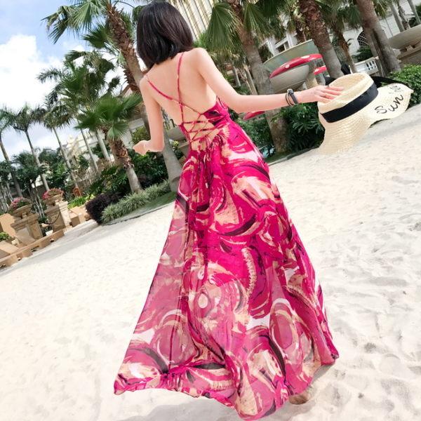 度假印花後綁帶連身長裙