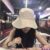 韓版雙面純色漁夫帽女夏季chic風紫色盆帽百搭日系遮陽防曬太陽帽