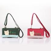 啵啵貓賞花斜背雙層手機袋/拼布包包