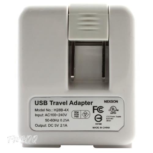 通海 4USB 5V/2.1A 旅充頭/USB電源充電器 ( 28B-4X )