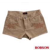 BOBSON 女款蕾絲花型刺繡色布短褲 (218-72)