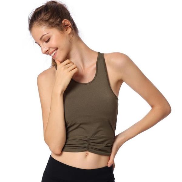 美背繞線加墊運動背心 瑜伽健身跑步 露背運動背心 1842米莎MISHA