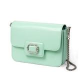 gout韓國設計師經典包款 經典素面寶石扣環包 鍊條皮革背帶 雙練小包 練條包 (蒂芬妮綠色)