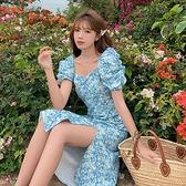 洋裝 方領小心機開叉連身裙-媚儷香檳-【D1529】