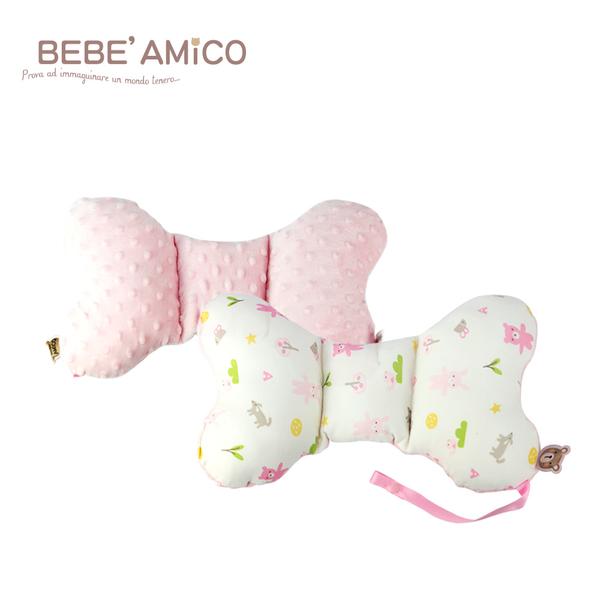 bebe Amico-動物日記-貝貝豆雙面安撫蝴蝶枕(附奶嘴鍊)-粉