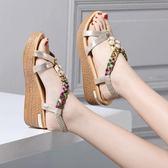 百麗厚底楔形涼鞋女夏季新品厚底鬆糕海邊度假波西米亞沙灘涼鞋 【萬聖節八五折鉅惠】