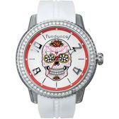 Tendence 天勢 玫瑰骷髏手錶-水晶圈x白/45mm TY013502