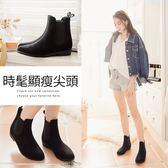 Ann'S黑色絨質短筒雨靴(附襪子)