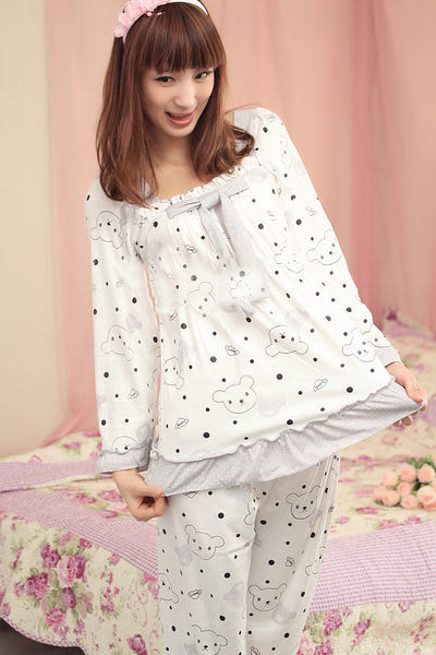 【Sexy cat】天真小熊 純棉二件式長袖睡衣/居家服 (俏皮黑)