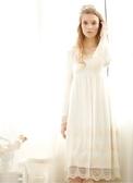 秋冬新款戀愛魔鏡雙層高貴棉線花邊雙層全棉喇叭袖家居裙-Nig101056