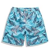 沙灘褲男速干防水溫泉游泳褲五分花褲衩大碼寬鬆泰國旅游度假短褲