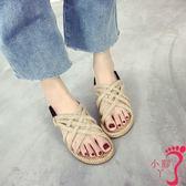 夏季新款文藝復古森系麻繩編織羅馬涼鞋女學生百搭平底沙灘鞋