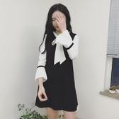 秋季新款假兩件少女繫帶蝴蝶結中長款A字裙黑白拼色喇叭袖洋裝
