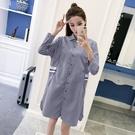 春秋装新款假兩件披肩式寬鬆長袖雙口袋中長版襯衫短洋裝 (黑格  紅格) 藍格售完 11852041