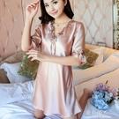 睡衣女 天睡裙韓版性感短袖冰絲睡衣蕾絲邊清新公主甜美薄款絲質 完美情人