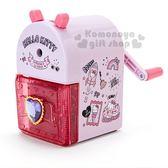 〔小禮堂〕Hello Kitty 削鉛筆機《粉.插圖.滿版》削筆器.學童文具 4901610-24769