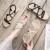 涼鞋 網紅涼鞋女仙女風平底溫柔鞋超火編織綁帶沙灘鞋2019新款夏季女鞋 2色35-40