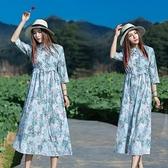 中袖洋装 特價處理夏季女裝復古中國民族風繡花中袖立領碎花單件印花洋裝