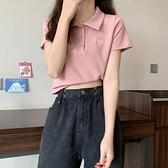 334Polo衫粉色短袖t恤女夏2021新款ins設計感小眾修身bm短款