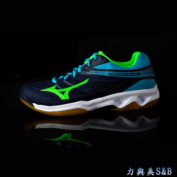 MIZUNO 羽排球鞋 抗耐磨鞋底 舒適好穿 THUNDER BLADE (INDOOR) 深藍色鞋面  【1205】