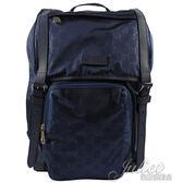 茱麗葉精品【全新現貨】GUCCI 510336 經典雙G緹花緞面尼龍束口翻蓋後背包.藍