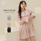 洋裝 Space Picnic|現+預.正韓-花邊大領片長袖洋裝【K21035001】