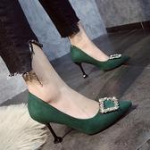 高跟鞋紅色女2021新款8cm水鉆一字扣綠色婚鞋職業百搭新娘結婚鞋 【端午節特惠】