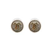【台中米蘭站】全新品 CHANEL 經典雙C logo 水鑽鑲飾針式耳環-銀