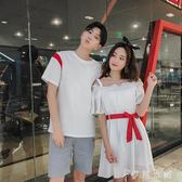 情侶裝夏裝新款韓版百搭短袖T恤半袖套裝氣質夏季洋裝/連身裙潮   伊鞋本鋪
