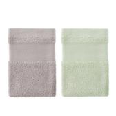 (組)美國棉方巾34x34-藕灰x1+綠x1