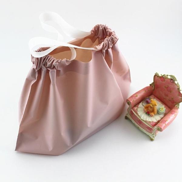 可收放時尚磨砂袋子手提袋膠袋購物袋吊帶塑料袋包裝袋服裝店袋子