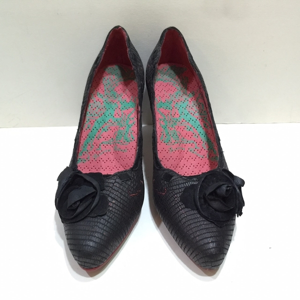 【Macanna麥卡納】高跟鞋-貴氣黑花-暗紅色-24.5
