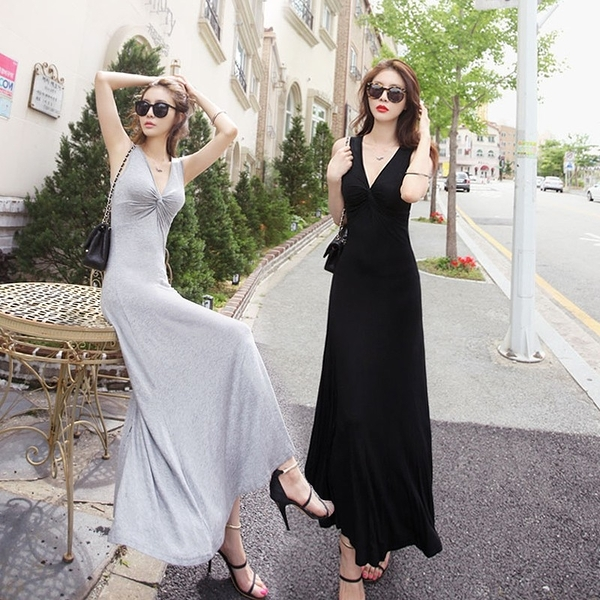 正韓夏季莫代爾修身大擺裙長裙女性感V領小黑裙背心連衣裙拖地裙