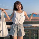 休閒運動套裝女夏季2018新款正韓字母印花背心上衣寬鬆短褲兩件套